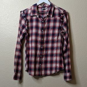 Roxy large red white and blue plaid button down